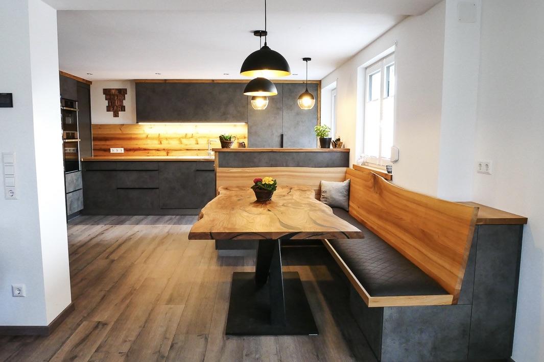 Küche in Betonoptik mit Altholz Holzquadrat OHG